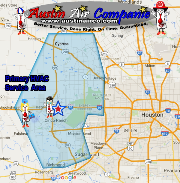Cypress Texas Map AC Repair Service Area Map | Katy | Cypress | Richmond Texas